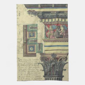 Vintage Architecture, Column with Cornice Moulding Tea Towel