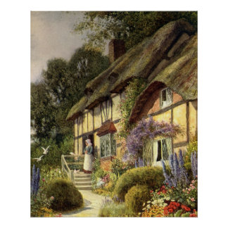 Vintage Architecture, Country Cottage House Poster