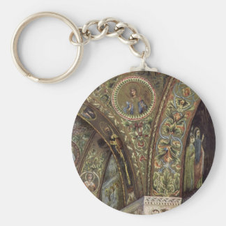 Vintage Architecture, Decorative Arch in a Church Basic Round Button Key Ring