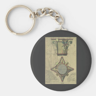 Vintage Architecture, Decorative Capital Crown Basic Round Button Key Ring