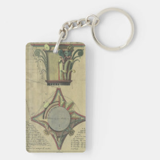 Vintage Architecture, Decorative Capital Crown Double-Sided Rectangular Acrylic Key Ring