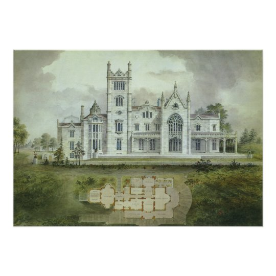 Vintage Architecture, French Chateau Floor Plans Poster