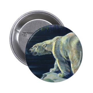 Vintage Arctic Polar Bear, Marine Life Animals 6 Cm Round Badge