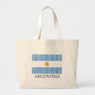 Vintage Argentina Flag Large Tote Bag