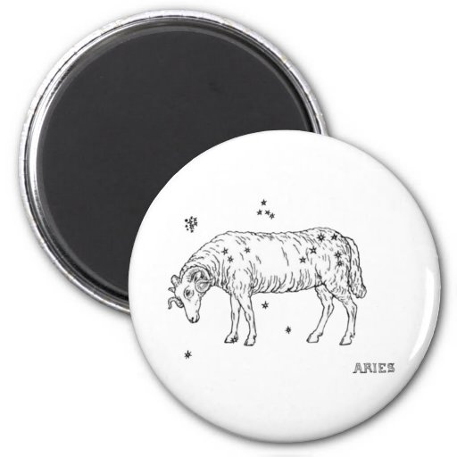 Vintage Aries 6 Cm Round Magnet