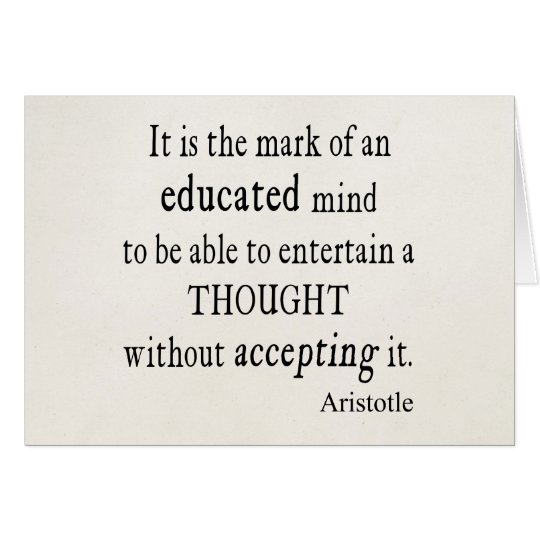 Vintage Aristotle Educated Mind Thought Quote Card