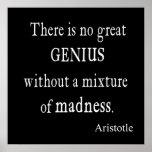 Vintage Aristotle Great Genius Madness Poster