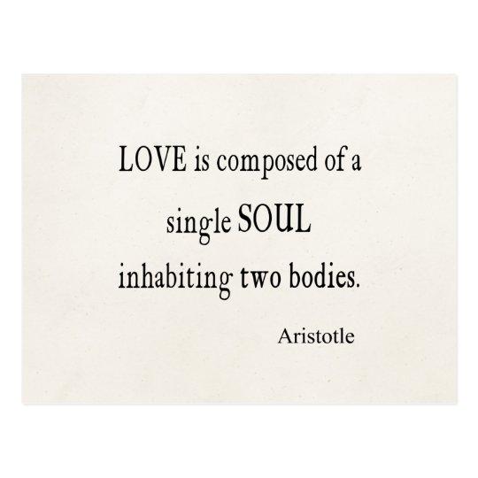 Vintage Aristotle Love Single Soul Quote Postcard