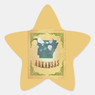 Vintage Arkansas State Map- Passion Fruit Yellow Star Sticker