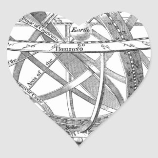 Vintage Armillary Sphere Heart Sticker