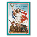 Vintage Army Poster with Lady Liberty Tshirts Greeting Card