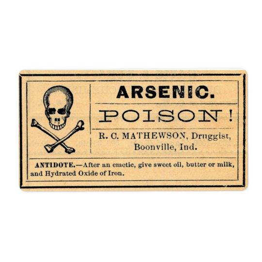 Vintage Arsenic Label Poison Halloween