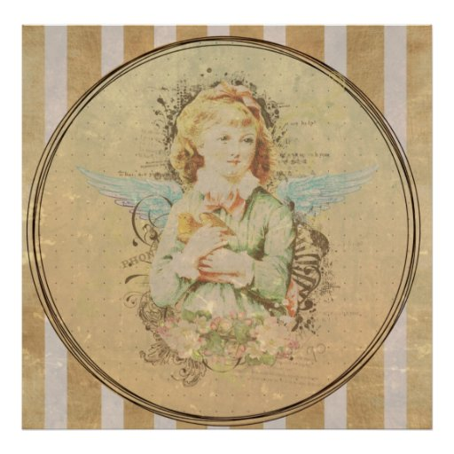 Vintage art, angel girl with bird by healing love posters