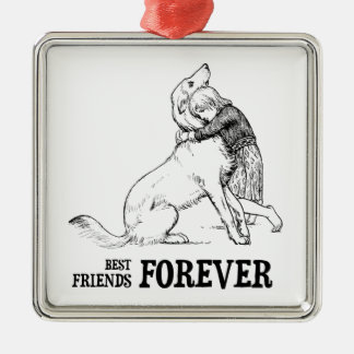 Vintage Art: Best Friends Forever Girl hugging Dog Christmas Ornament