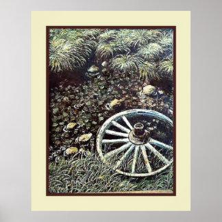 Vintage Art by B Mitchell Wagon Wheel Poster