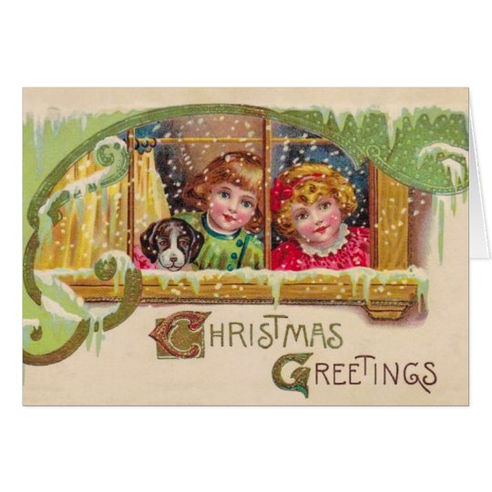 Vintage Art Christmas Card, 2 Children, Customise Card