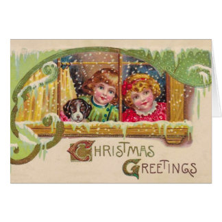 Vintage Art Christmas Card, 2 Children, Customize Greeting Card