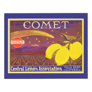 Vintage Art Comet Brand Lemon Fruit Crate Label