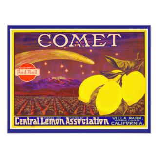 Vintage Art Comet Brand Lemon Label Photo