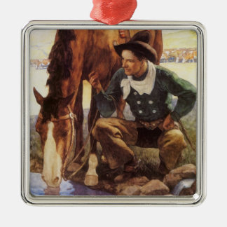 Vintage Art, Cowboy Watering His Horse by NC Wyeth Christmas Ornament