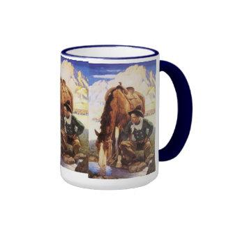 Vintage Art, Cowboy Watering His Horse by NC Wyeth Ringer Mug