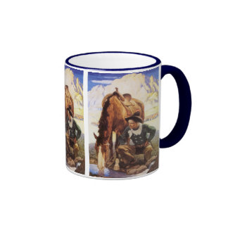 Vintage Art, Cowboy Watering His Horse by NC Wyeth Ringer Mug