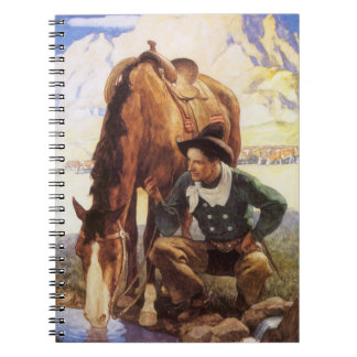 Vintage Art, Cowboy Watering His Horse by NC Wyeth Spiral Notebook