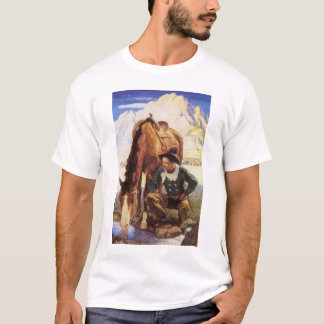 Vintage Art, Cowboy Watering His Horse by NC Wyeth T-Shirt