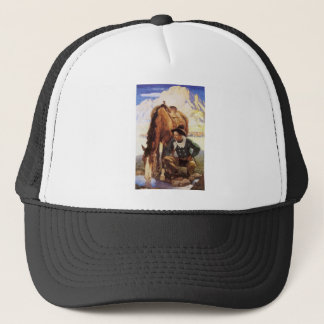 Vintage Art, Cowboy Watering His Horse by NC Wyeth Trucker Hat