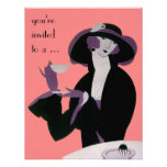Vintage Art Deco Afternoon Tea Party Bridal Shower Personalized Invitations