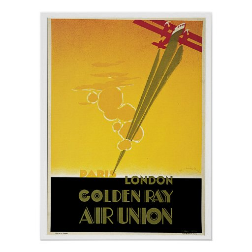 Vintage Art Deco airlines travel ad Poster
