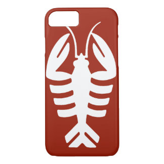 Vintage Art Deco Animal, White Lobster on Red iPhone 8/7 Case