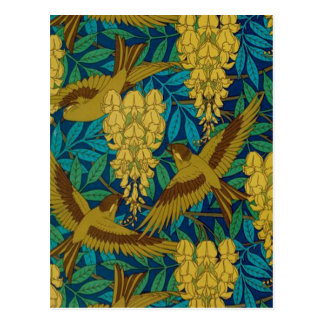 Vintage Art Deco Birds and Leaves Postcard