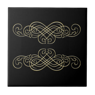 Vintage Art Deco Black White  and Gold Scroll Small Square Tile