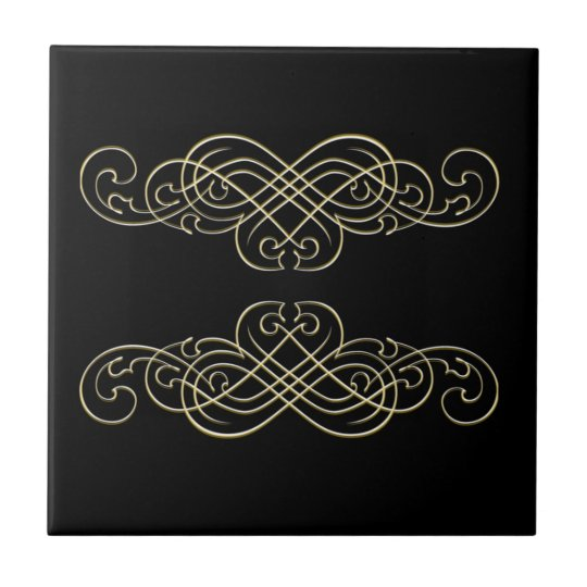 Vintage Art Deco Black White and Gold Scroll