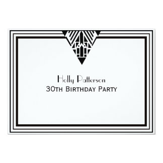 Vintage Art Deco Black White Frame #1 H Birthday 13 Cm X 18 Cm Invitation Card