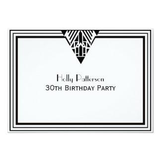 Vintage Art Deco Black White Frame #1 H Birthday Card
