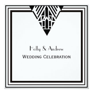 Vintage Art Deco Black White Frame #1 SQ Wedding 13 Cm X 13 Cm Square Invitation Card