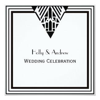 Vintage Art Deco Black White Frame #1 SQ Wedding Card