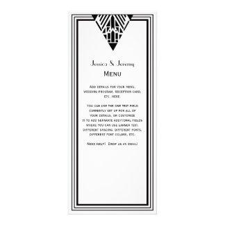 Vintage Art Deco Black Wht Frame 1 Menu Reception Personalized Announcement