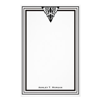 Vintage Art Deco Black Wht Frame #1 Personalized Stationery Design