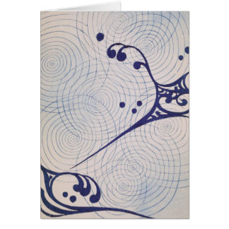 Vintage Art Deco Blue Waves Card
