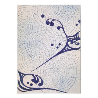 Vintage Art Deco Blue Waves Card