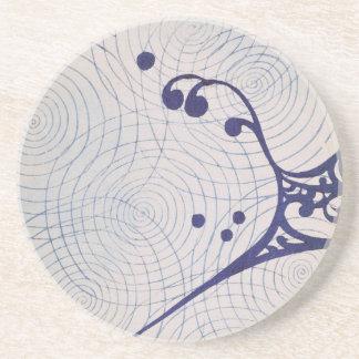 Vintage Art Deco Blue Waves Coaster