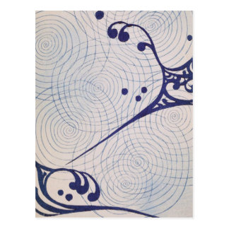 Vintage Art Deco Blue Waves Postcard