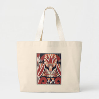 Vintage Art Deco Book Paper Pattern Large Tote Bag