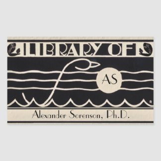 Vintage Art Deco Bookplate Personalized Monogram Rectangle Sticker