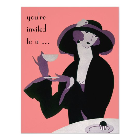 Vintage Art Deco Bridal Shower Party Invitation