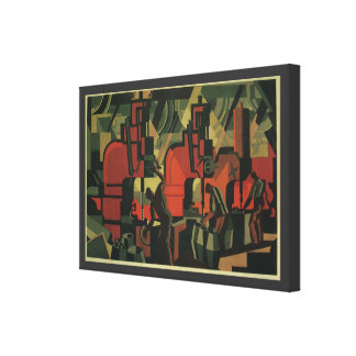 Vintage Art Deco Business, Manufacturing Workers Canvas Print