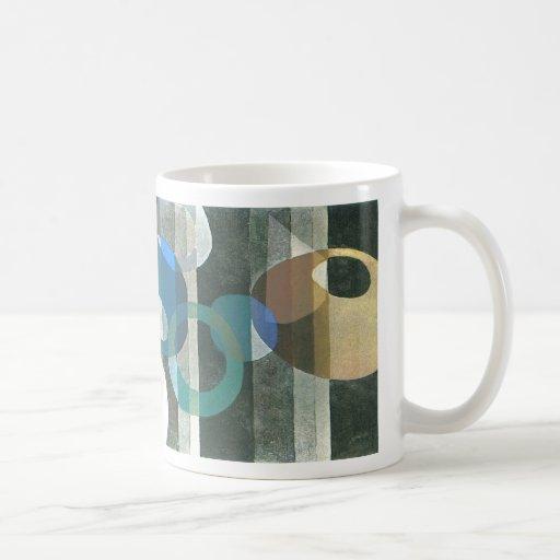 Vintage Art Deco Circles Stripes Coffee Mug